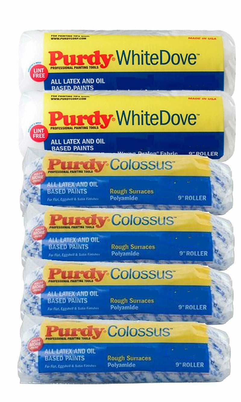"PURDY 9"" Roller Sleeves 6-PACK - 4x Colossus & 2x White Dove"
