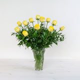 One Dozen Long-Stemmed Roses In Vase
