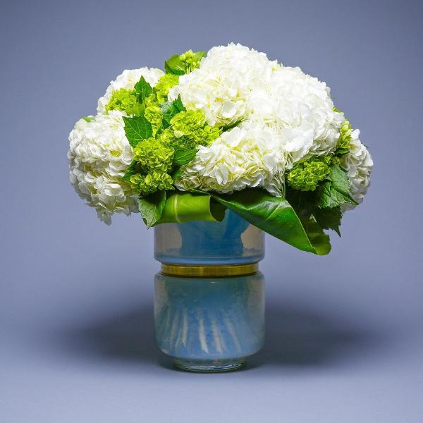 Milk Glass vase and Hydrangea Cloud