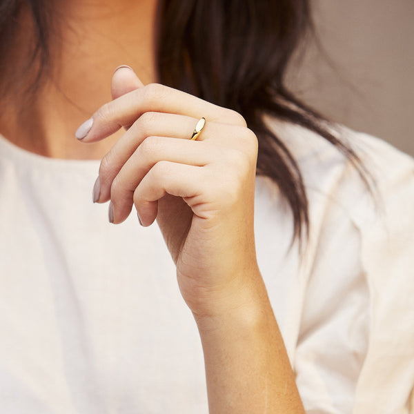 Twisted Rope Signet Ring Gold