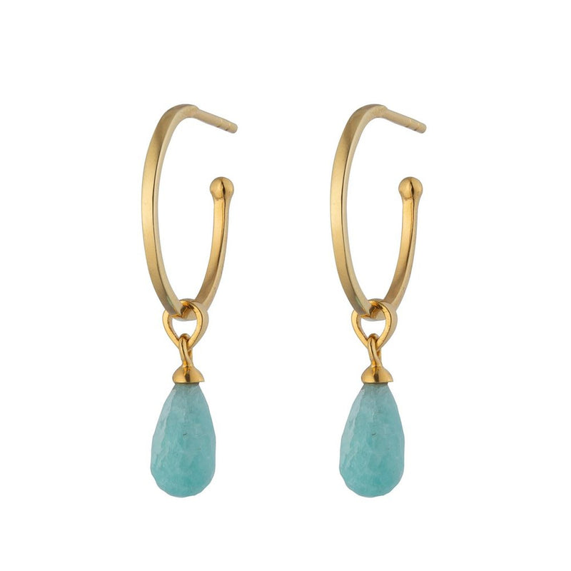 Gold Amazonite Goddess Charm Liberty Classic Hoop Earring 15mm