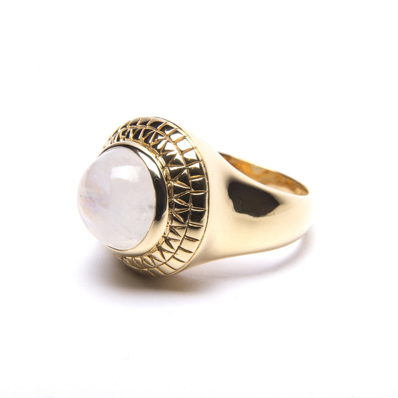 Puck Wanderlust_Gold Rainbow Moonstone Power Ring_White Background_Side