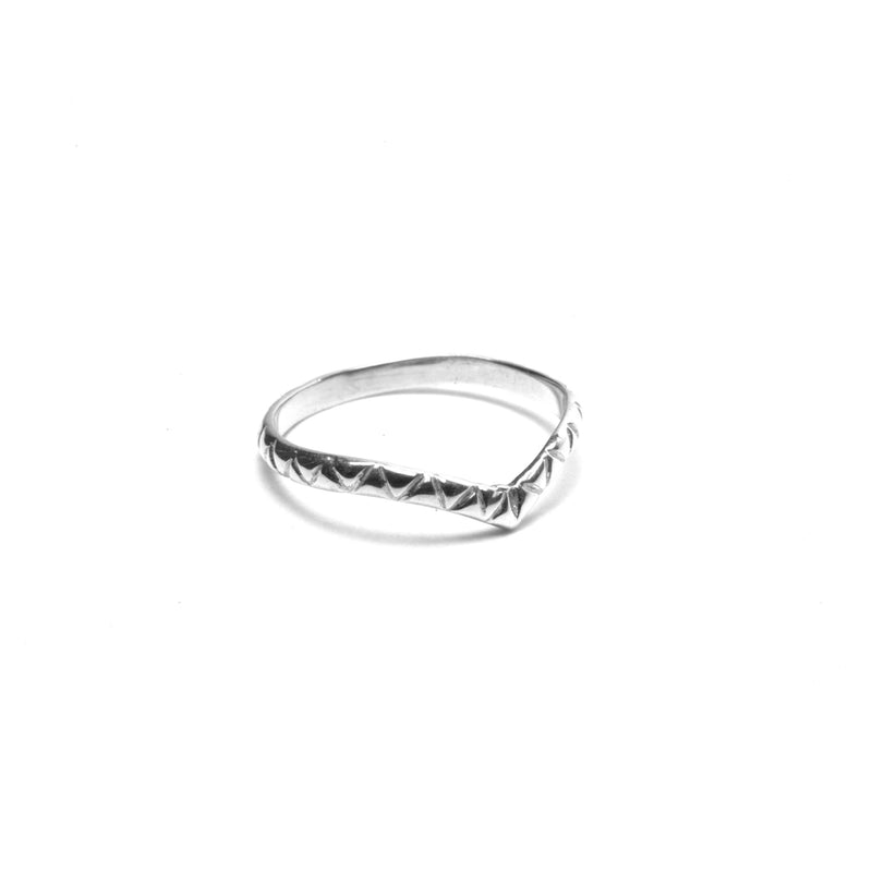 Puck Wanderlust Patterned Silver Midi Ring