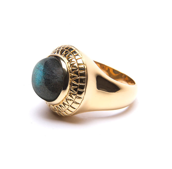 Puck Wanderlust_Gold Labradorite Power Ring_White Background_Side
