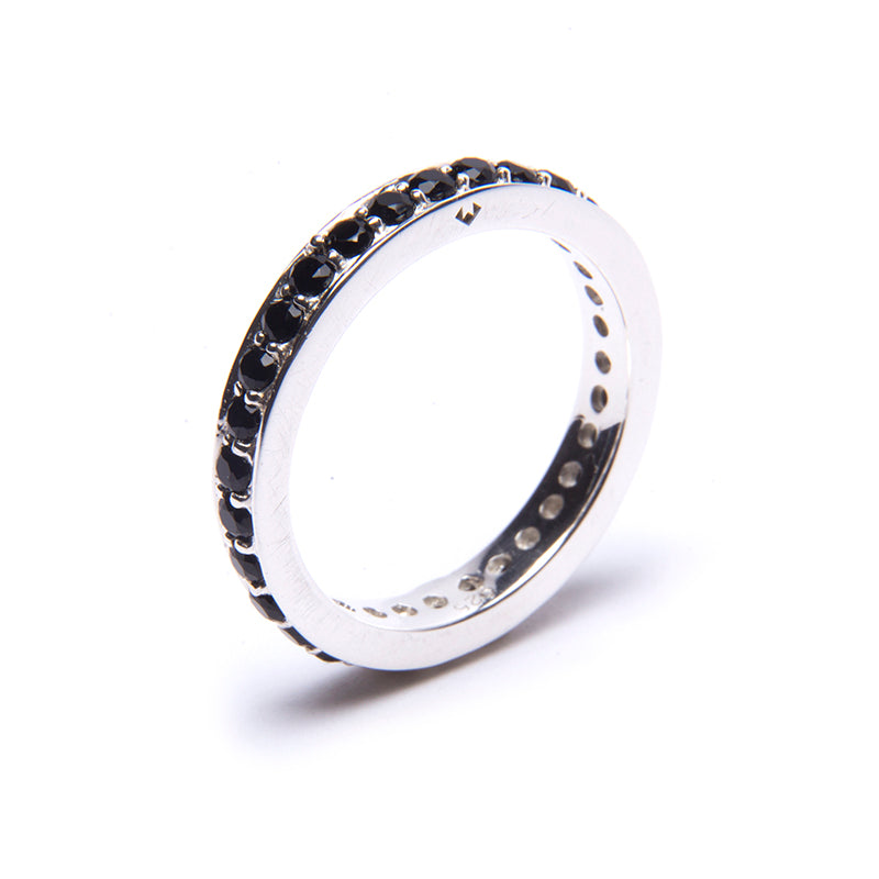 Black Onyx Circle Eternity Stacker Ring Silver