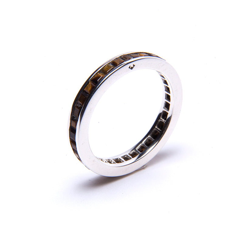 Tiger's Eye Square Eternity Stacker Ring Silver