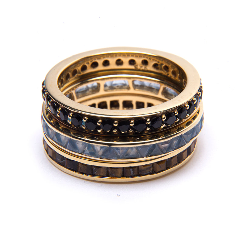 Black Onyx Circle Eternity Stacker Ring Gold