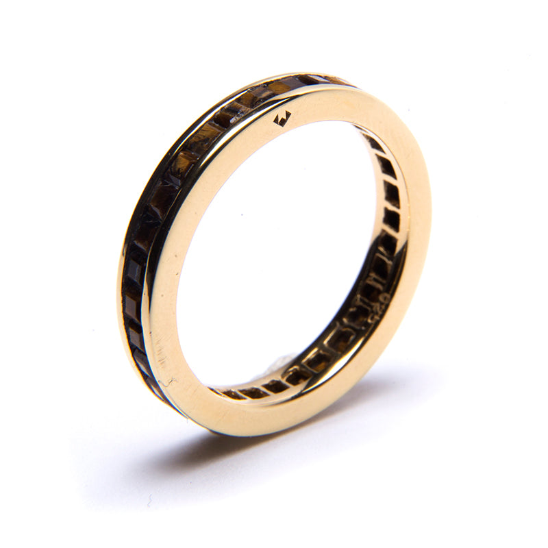 Tiger's Eye Square Eternity Stacker Ring Gold