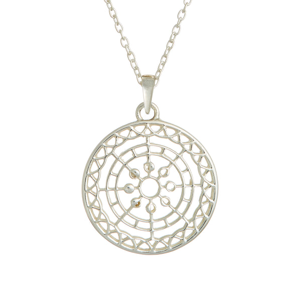 Moon Mandala Pendant Necklace Silver