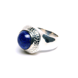 Puck Wanderlust_Silver Lapis Lazuli Power Ring_white Background_Side