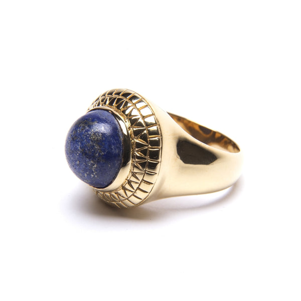 Puck Wanderlust_Gold Lapis Lazuli Power Ring_White Background_Side