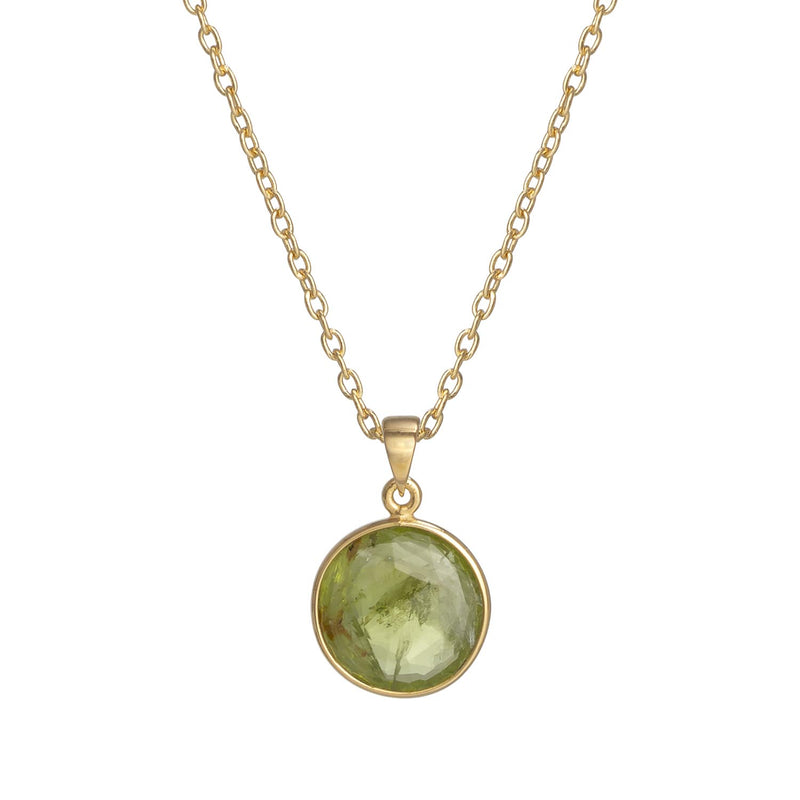 Puck Wanderlust_Gold Peridot Birthstone Charm Necklace Cable Chain_Crop