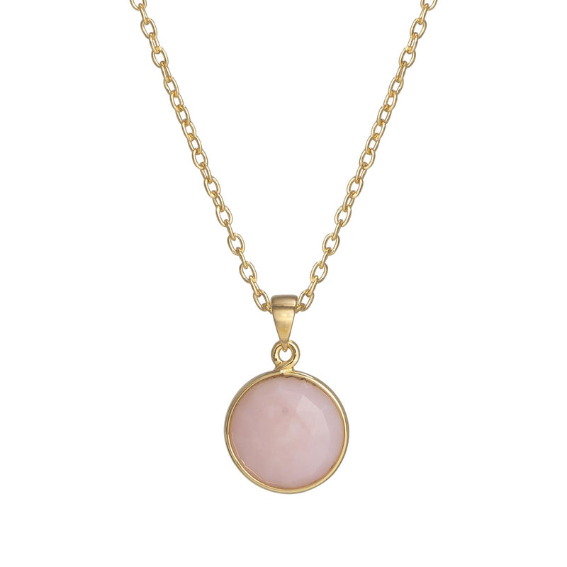 Puck Wanderlust_Gold Pink Opal Birthstone Charm Necklace Cable Chain_Crop