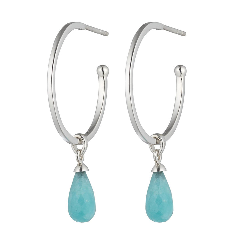 Silver Amazonite Goddess Charm Liberty Classic Hoop Earring 20mm