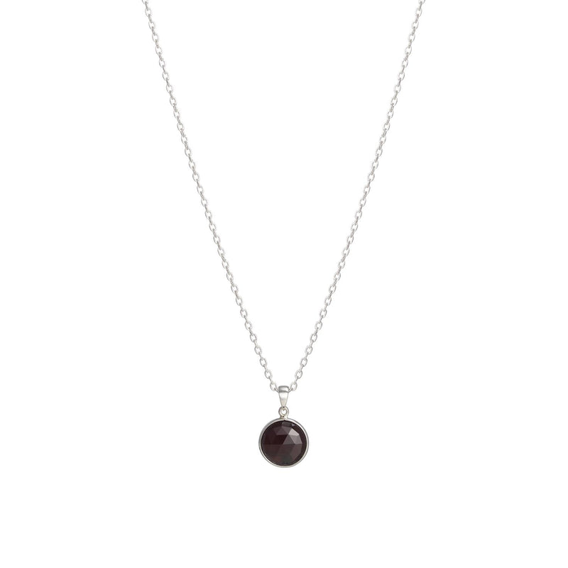Puck-Wanderlust-Silver-Garnet-Birthstone-Charm-Necklace-Cable-Chain-64cm