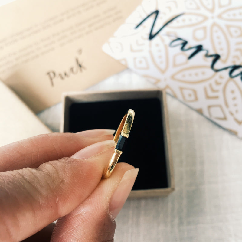 Puck Wanderlust_Gold Black Onyx Central Jewel Ring_Packaging