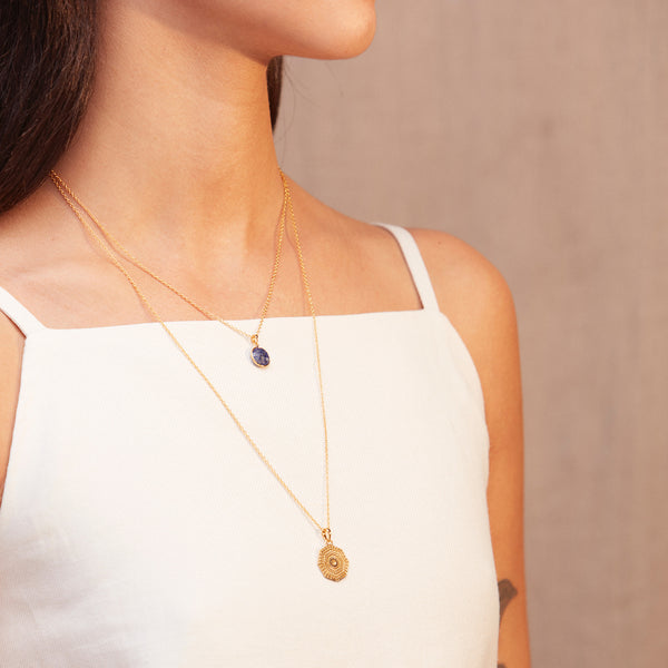 Puck Wanderlust_Gold Lapis Lazuli Birthstone Charm Necklace Cable Chain_Lifestyle_2