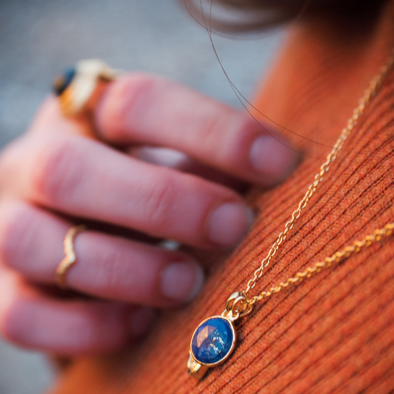 Puck Wanderlust_Gold Lapis Lazuli Birthstone Charm Necklace Cable Chain_Lifestyle
