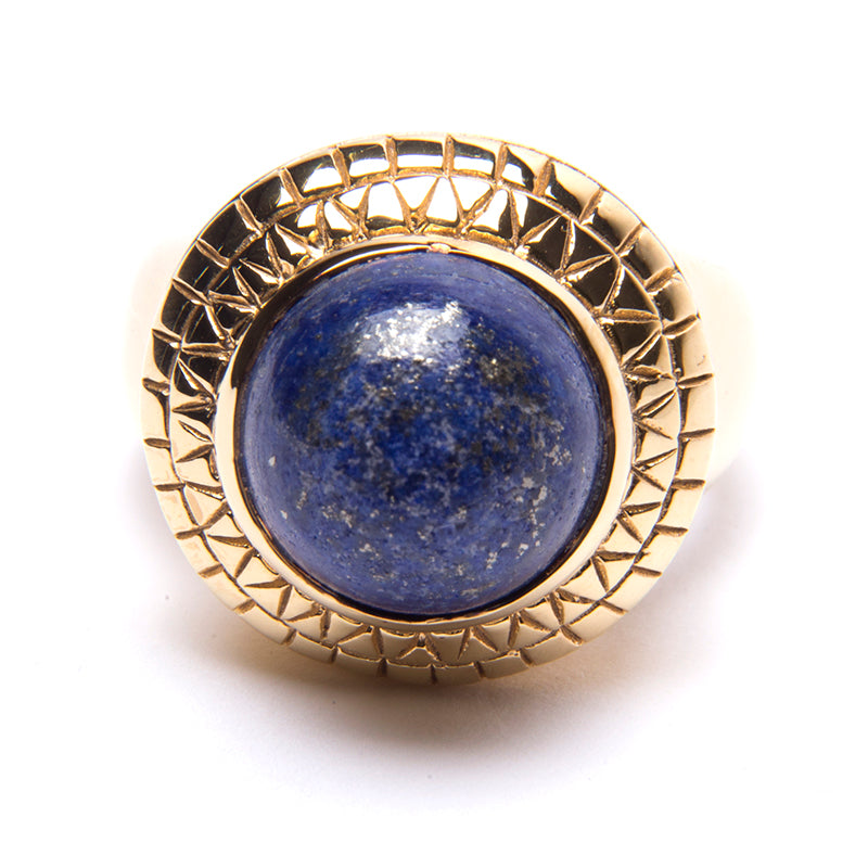 Puck Wanderlust_Gold Lapis Lazuli Power Ring_White Background_Front
