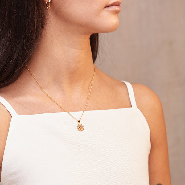 Puck Wanderlust_Gold Mini Moon Mandala Necklace_Model_2