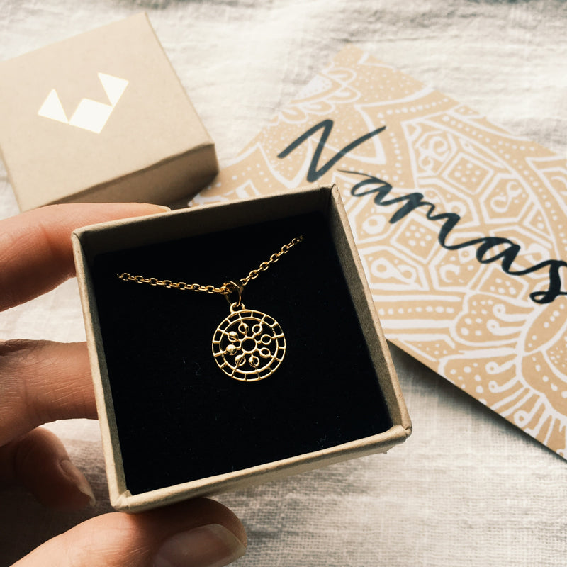 Puck Wanderlust_Gold Mini Moon Mandala Necklace_Packaging