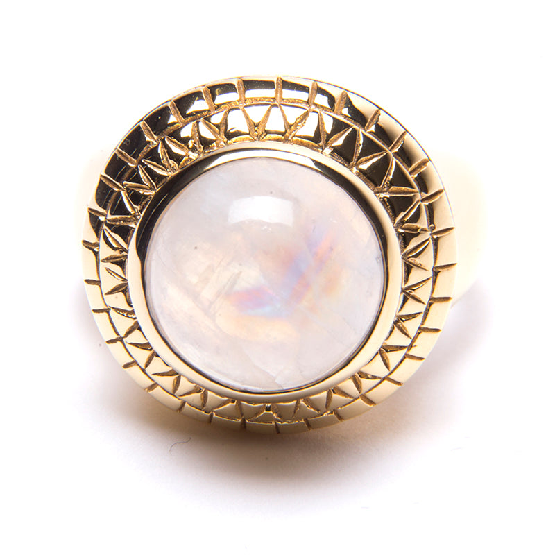 Puck Wanderlust_Gold Rainbow Moonstone Power Ring_White Background_Front