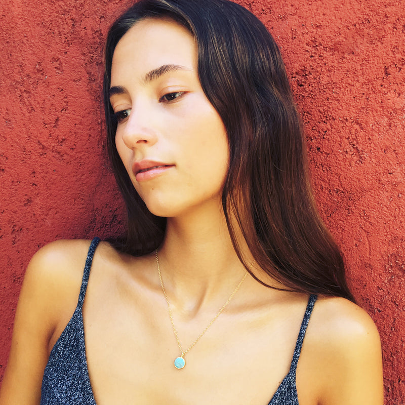 Puck Wanderlust_Gold Turquoise Birthstone Charm Necklace Cable Chain_Model
