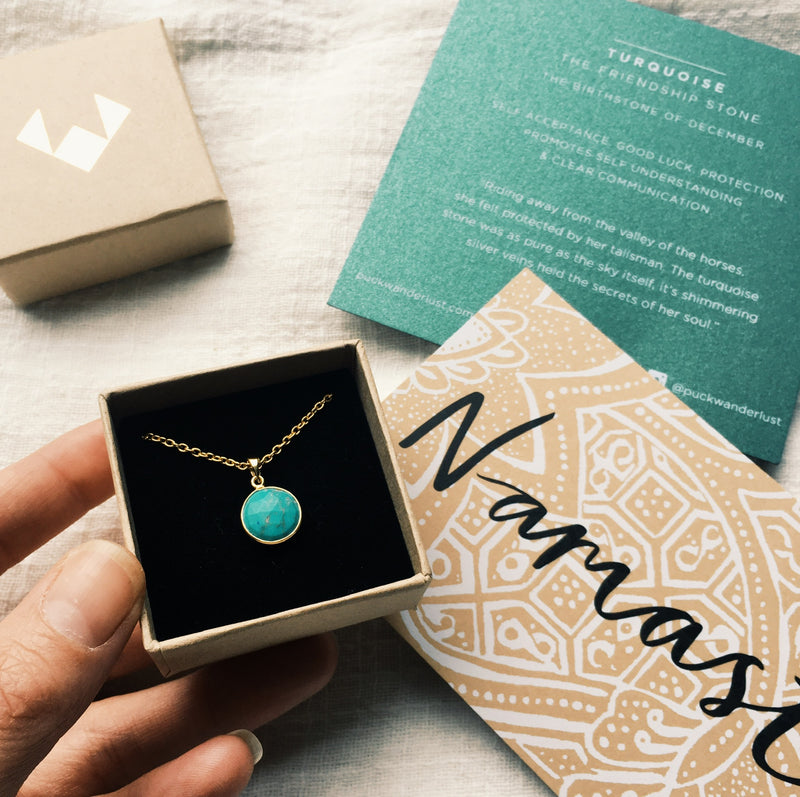 Puck Wanderlust_Gold Turquoise Birthstone Charm Necklace Cable Chain_Packaging