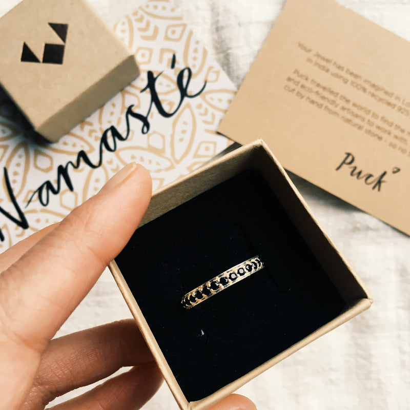 Puck Wanderlust_Silver Black Onyx Eternity Ring_Packaging