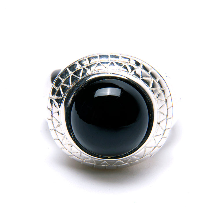 Puck Wanderlust_Silver Black Onyx Power Ring_White Background_Front