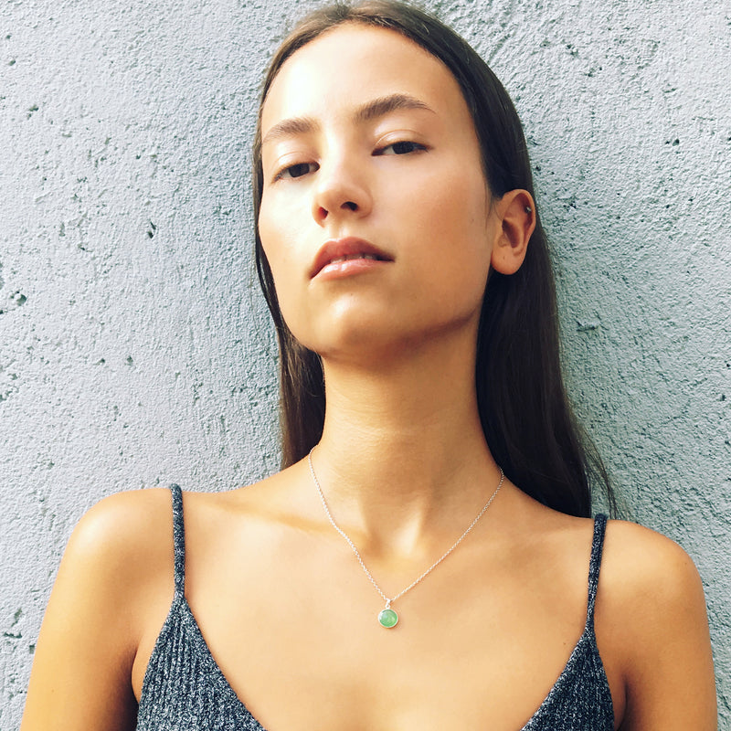 Puck Wanderlust_Silver Chrysoprase Birthstone Charm Necklace Cable Chain_Model_2