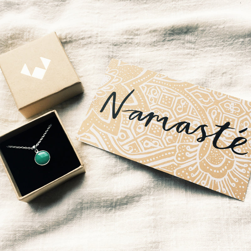 Puck Wanderlust_Silver Chrysoprase Birthstone Charm Necklace Cable Chain_Packaging