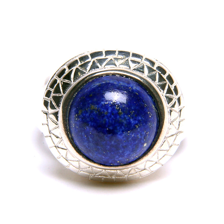 Puck Wanderlust_Silver Lapis Lazuli Power Ring_White Background_Front