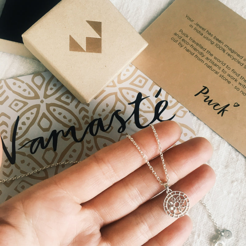 Puck Wanderlust_Silver Mini Moon Mandala Necklace_Silver_Packaging
