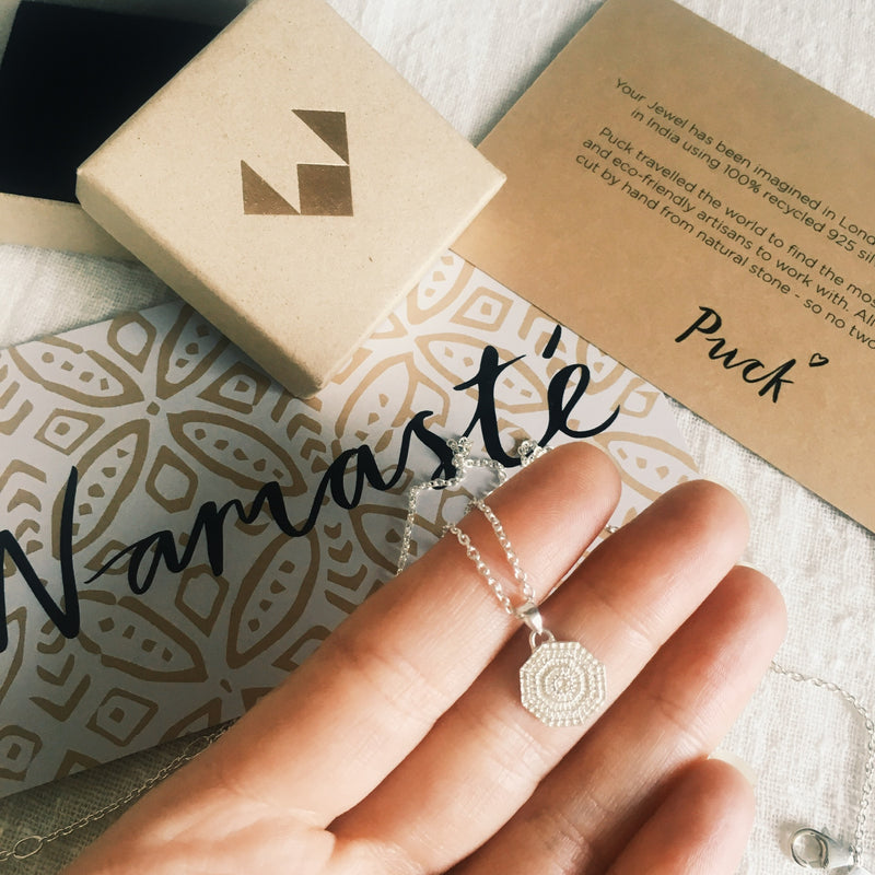 Puck Wanderlust_Silver Mini Sun Mandala Necklace_Packaging