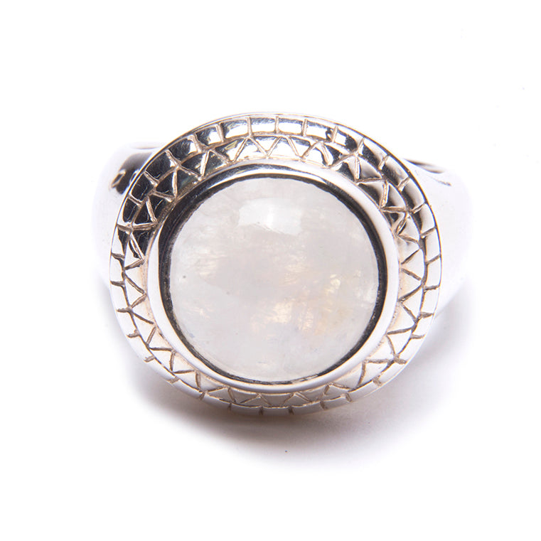 Puck Wanderlust_Silver Rainbow Moonstone Power Ring_.White Background_Front