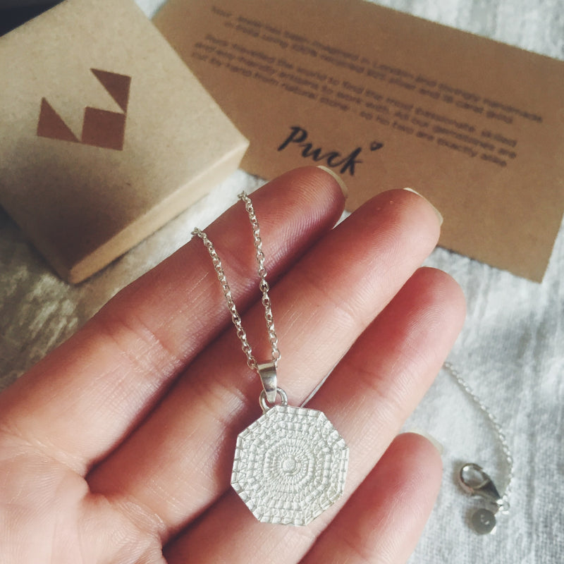Puck Wanderlust_Silver Sun Mandala Necklace_Packaging