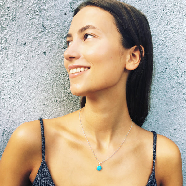 Puck Wanderlust_Silver Turquoise Birthstone Charm Necklace Cable Chain_Model