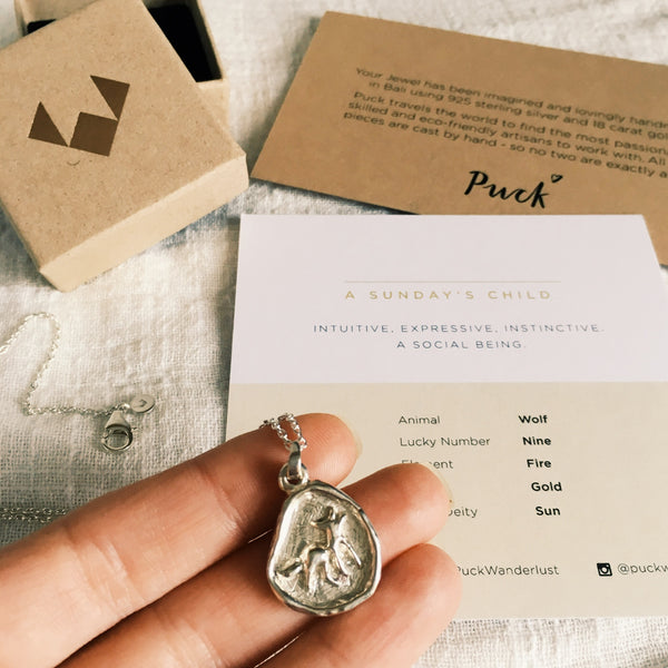Puck Wanderlust_Sundays Child Wisdom Totem Silver Wolf_Packaging