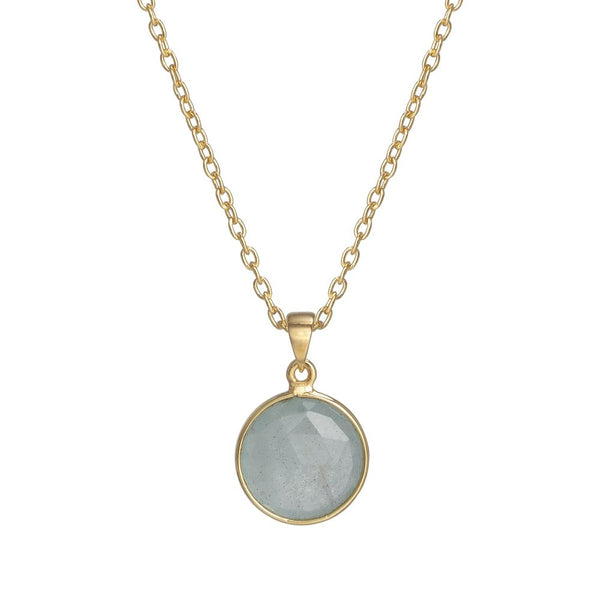 Gold Aqua Marine Birthstone Necklace - March - Cable Chain - Still life