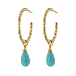 Gold Amazonite Goddess Charm Empress Twisted Hoop Earring Stilllife