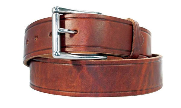 "Men's Heavy Duty Leather Work Belt No Crack USA Handcrafted Full Grain Leather 1 1/2"" 10 Year Warranty"