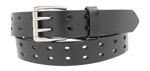 "1 1/2"" Double Prong Double Holes, Full Grain Leather Belt"
