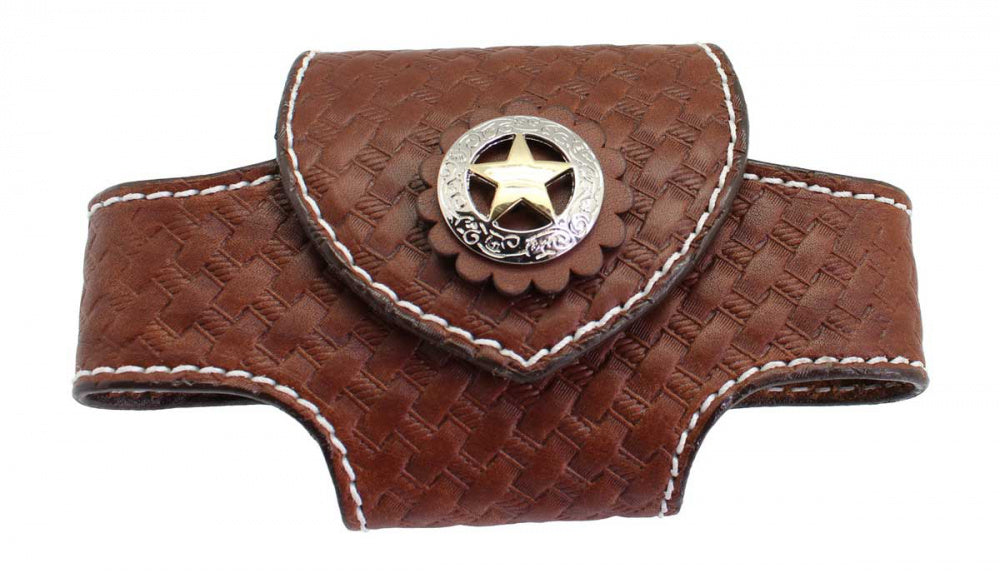 Horizontal Western Leather Cell Phone Holster
