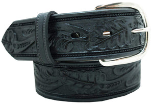 "Men's Casual Belt - 1 1/2"" Oak Leaf Embossed Classic Western Belt"