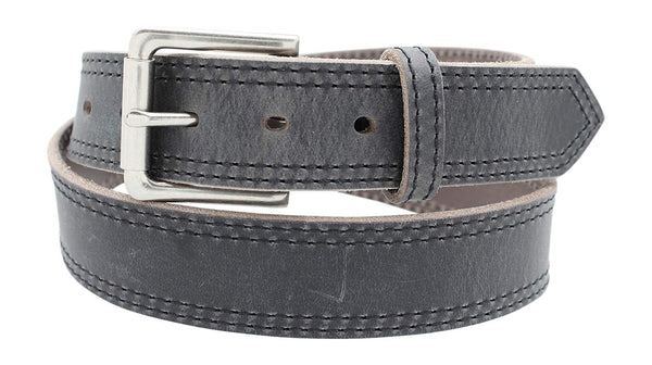 Distressed Leather Belt Double-Stitched Full Grain Leather