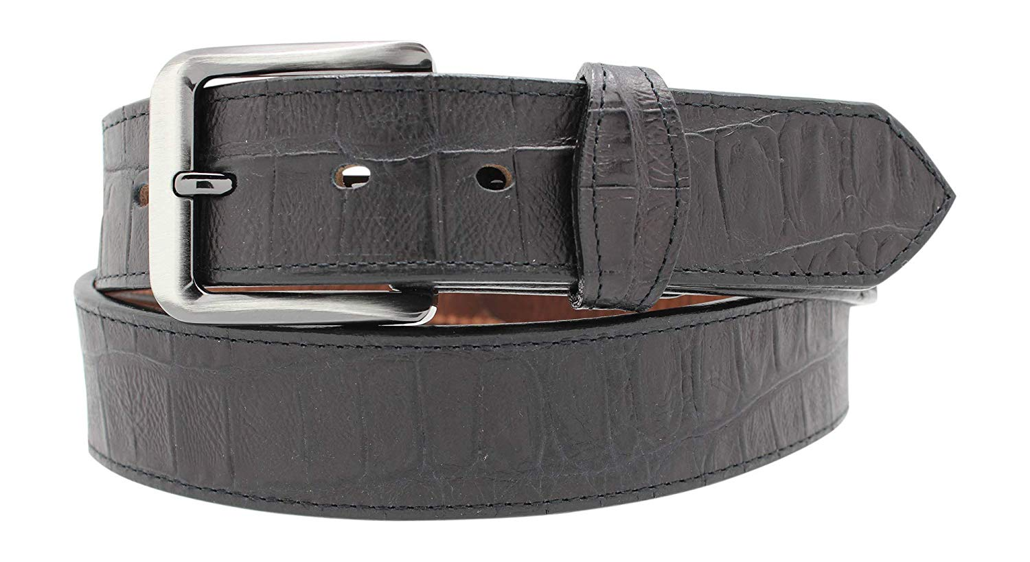 Alligator Embossed Leather Dress Belt with Tabs