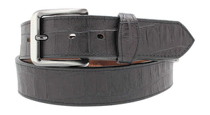 Alligator Embossed Leather Dress Belt w/ Tabs