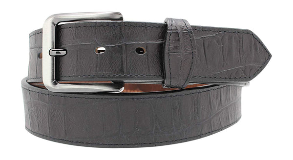 Gator Embossed Leather Dress Belt, Alligator Leather Belt with Tabs