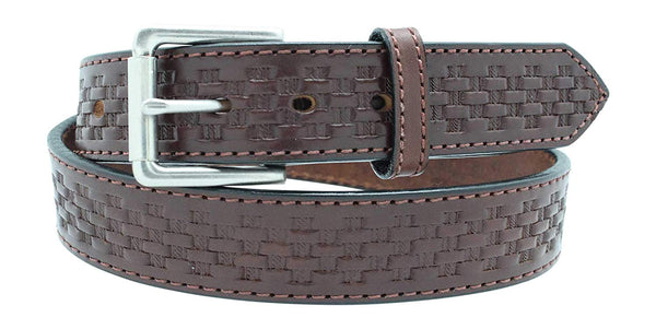 "Men's Basketweave Embossed Work Belt - 1 1/2"" Oiled & Waxed Work Belt"